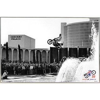 Evel Knievel Caesars Palace Jump 36x24 Poster with Silver Metal Frame I
