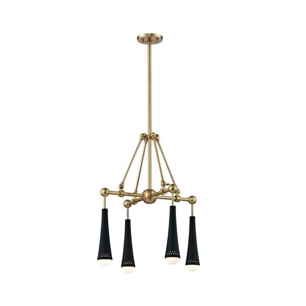 Hudson Valley Tupelo 4 Light Led Aged Brass Black Chandelier