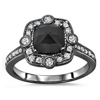 Noori Certified 14k Black Gold 1 1/3ct TDW Cushion-cut Black Diamond Engagement Ring - White
