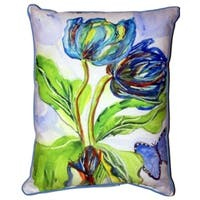 Betsy Drake 'Tulips and Morpho' Small Indoor/ Outdoor Throw Pillow