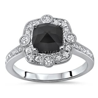 Noori Certified 14k White Gold 1 1/3ct TDW Cushion-cut Black Diamond Engagement Ring