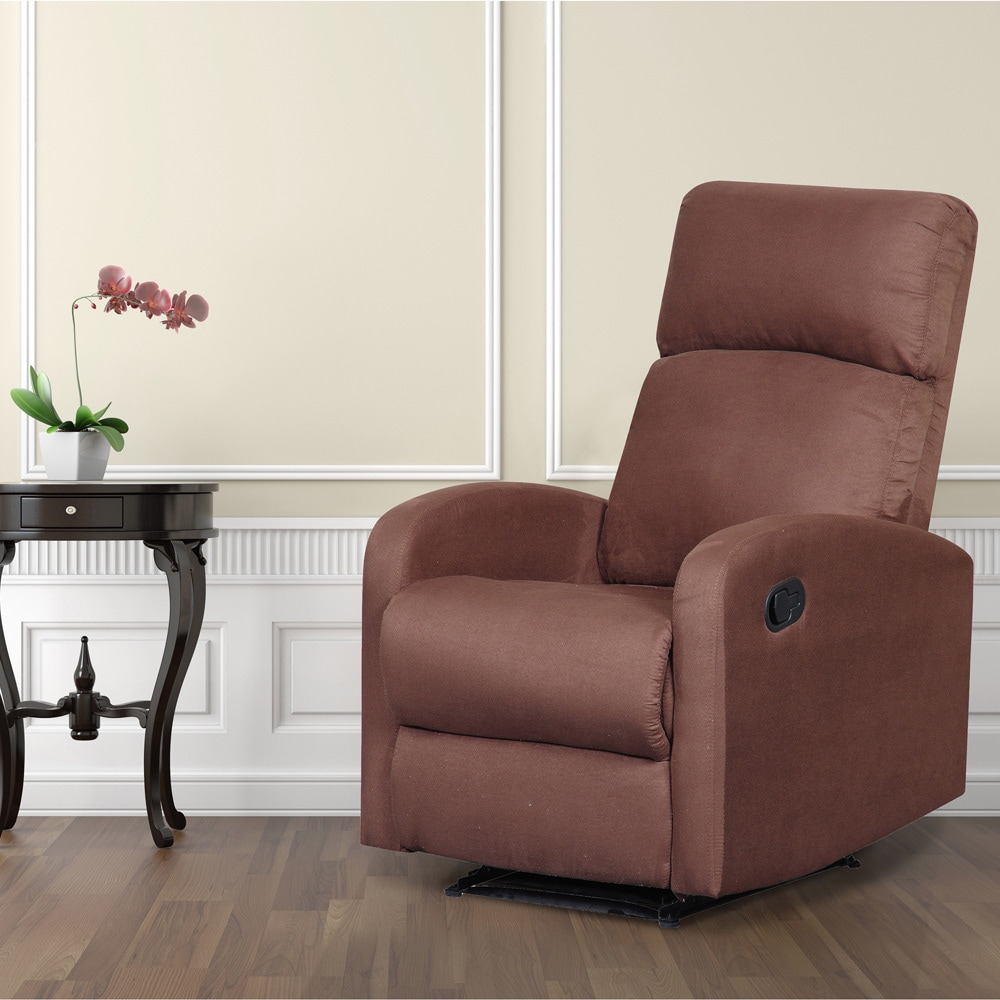 ARTIVA USA Modern Home Slim Design Microfiber Brown Recli...