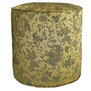 Oriental Jacquard Fabric Cylinder Pouf