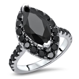 Noori Certified 14k White Gold 2 4/5ct TDW Marquise Black Diamond Engagement Ring
