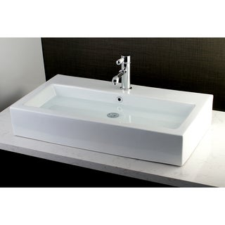 Contemporary Large 32-inch Elongated Vessel Bathroom Sink