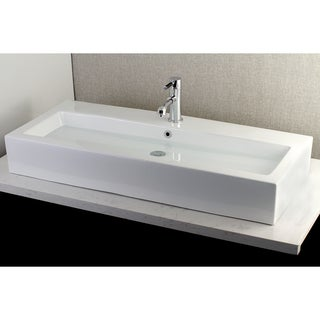 Contemporary Large 39-inch Elongated Vessel Bathroom Sink