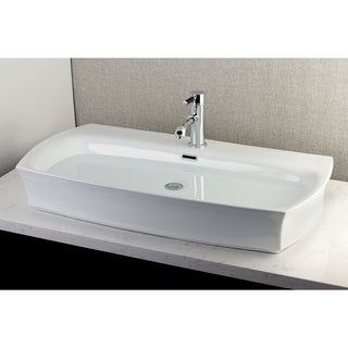Contemporary Large 35-inch Elongated Vessel Bathroom Sink