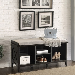 Briarwood Home Decor Contemporary Black Finish Wood Bench with Cushion