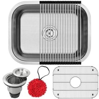 """23"""" Ticor S505-KIT Stainless Steel 16 Gauge Undermount Single Bowl Kitchen Sink"""