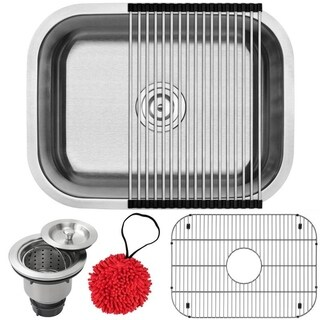 "23"" Ticor S505 Haven Series 16-Gauge Stainless Steel Undermount Single Basin Kitchen/Laundry Sink with Accessories"