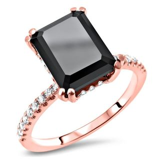 Noori Certified 14k Rose Gold 2 7/8ct TDW Emerald-cut Black Diamond Engagement Ring