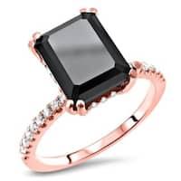 Noori Certified 14k Rose Gold 2 7/8ct TDW Emerald-cut Black Diamond Engagement Ring - White
