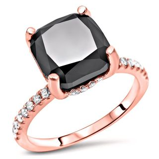 Noori Certified 14k Rose Gold 2 7/8ct TDW Cushion-cut Black Diamond Engagement Ring
