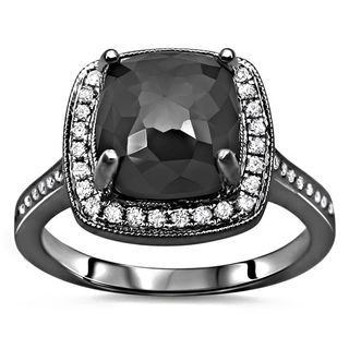 Noori Certified 14k Black Gold 3 1/4ct TDW Cushion-cut Black Diamond Engagement Ring