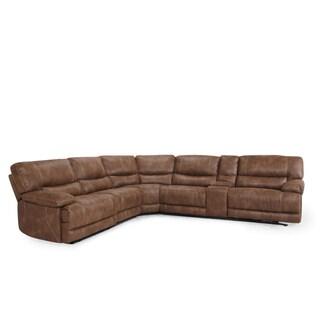 LYKE Home Brown Microsuede Power Sectional Sofa