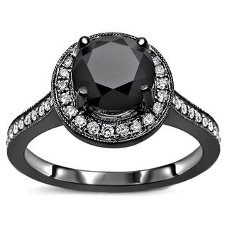 Noori Certified 14k Black Gold 1 2/5ct TDW Black Round Halo Diamond Engagement Ring - White (More options available)
