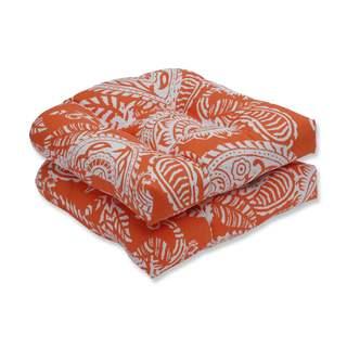 Pillow Perfect Outdoor/ Indoor Addie Terra Cotta Wicker Seat Cushion (Set of 2)