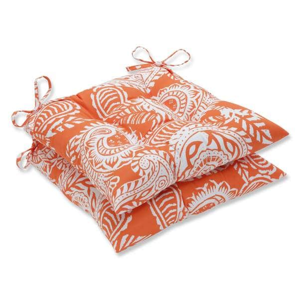 Pillow Perfect Outdoor/ Indoor Addie Terra Cotta Wrought Iron Seat Cushion (Set of 2)