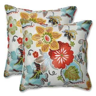 Pillow Perfect Outdoor/Indoor Alatriste Ivory 18.5-inch Throw Pillow (Set of 2) - 18.5x18.5