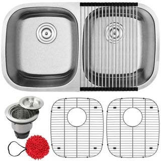 """32 1/2"""" Ticor S205 Haven Series 16-Gauge Stainless Steel Undermount Double Basin Kitchen Sink with Accessories"""