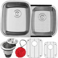 """32 1/4"""" Ticor S305 Haven Series 16-Gauge Stainless Steel Undermount Double Basin Kitchen Sink with Accessories"""