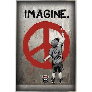 Imagine Peace Silvertoned Metal Frame 24 x 36-inch Poster