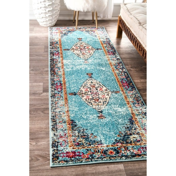 Shop NuLOOM Traditional Fading Oriental Medallion Aqua
