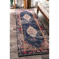 nuLOOM Traditional Fading Oriental Medallion Navy Runner Rug - 2'6 x 8