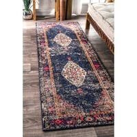 nuLOOM Traditional Fading Oriental Medallion Navy Runner Rug (2'6 x 8) - 2' 6 x 8'