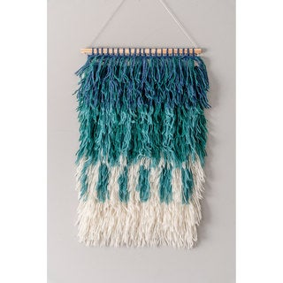 nuLoom Handmade Modern Ombre Teal Shag Wall Hanging (1' 6 x 2' 3)