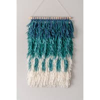 The Curated Nomad Caesar Handmade Modern Ombre Teal Shag Wall Hanging