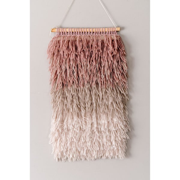 The Curated Nomad Caesar Handmade Contemporary Ombre Pink Shag Wall Hanging