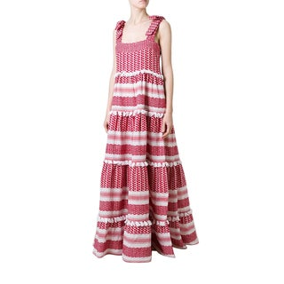 Dodo Bar Or Amal Red Tiered Maxi Dress