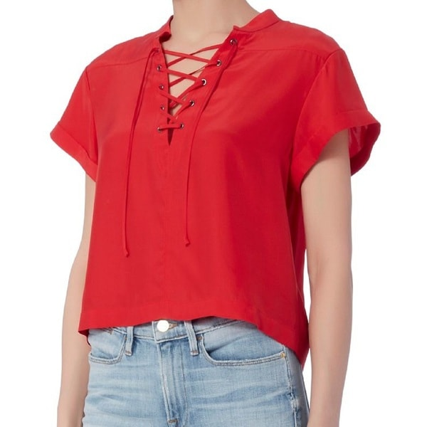 Frame Denim Red Silk Lace Up Blouse