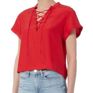 Frame Denim Red Silk Lace Up Blouse|https://ak1.ostkcdn.com/images/products/14663812/P21200185.jpg?impolicy=medium