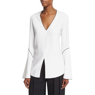 Derek Lam White Split Hem Blouse