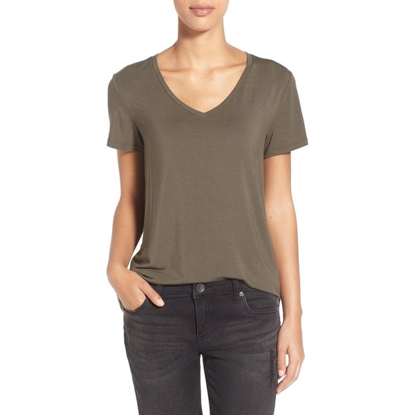 ee88c0c286a35 Shop A.L.C. Olive V-neck Linen Tee - Free Shipping Today - Overstock -  14663814