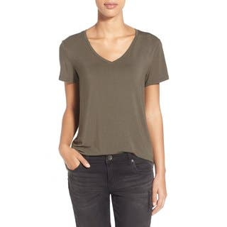 A.L.C. Olive V-neck Linen Tee|https://ak1.ostkcdn.com/images/products/14663814/P21200187.jpg?impolicy=medium