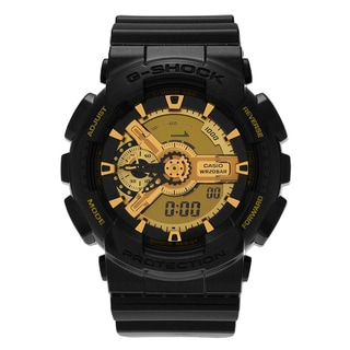 Casio Men's GA-110BR-5A 'G-Shock' Black and Goldtone Analog Digital Dial Strap Watch