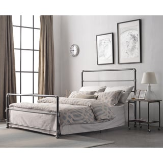 Nazaire Dark Grey Industrial Lines Iron Metal Queen-size Bed by Corvus