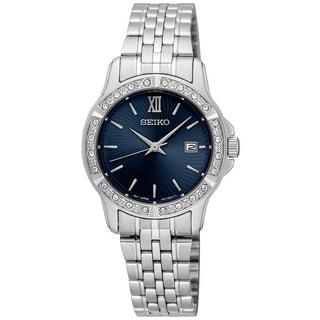 Seiko Ladies SUR735 Stainless Steel and Crystal watch with a Date Window