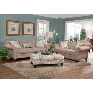 Metropolitan Taupe Fabric Upholstery Sofa with Loveseat and Pillows Set