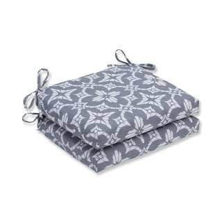 Pillow Perfect Outdoor/ Indoor Aspidoras Gray Squared Corners Seat Cushion (Set of 2)