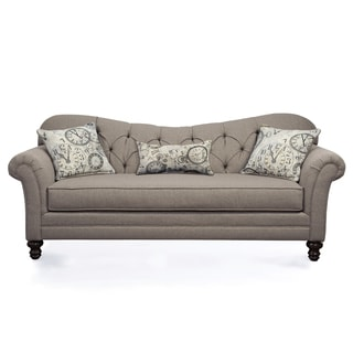 Superbe Metropolitan Tufted Taupe Fabric Upholstered Sofa With Pillows