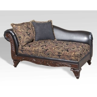 Abbyson encore brown tufted leather chaise lounge with for Abbyson living soho cream fabric chaise