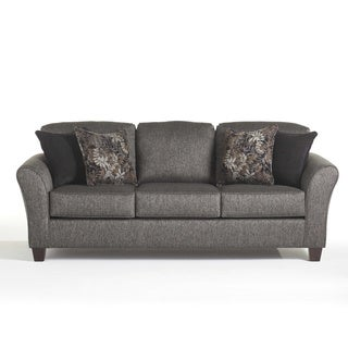 Elmira Pewter Grey Fabric Upholstered Sofa with Pillows