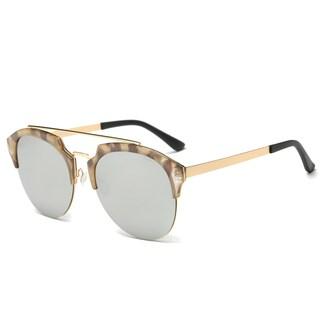 Dasein Chic Designer Retro Round Unisex Polarized Sunglasses (Option: Marble Taupe/ Mirrored Gray)