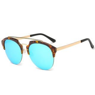 Dasein Chic Designer Retro Round Unisex Polarized Sunglasses (Option: Marble Brown/ Mirrored Pale Blue)