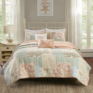 Madison Park Stone Harbor Coral Cotton Printed 6 Piece Coverlet Set