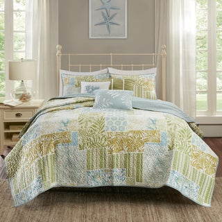 Madison Park Stone Harbor Blue/ Green Cotton Printed 6-piece Coverlet Set